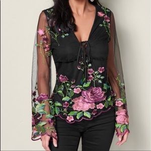 Embroidered mesh top with a floral finesse